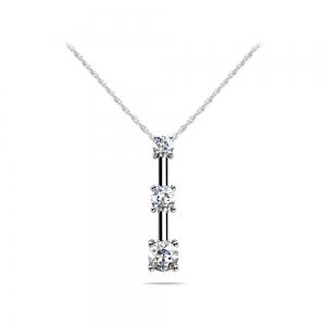 Four Prong Three Stone Diamond Pendant in White Gold (1/4 ctw)