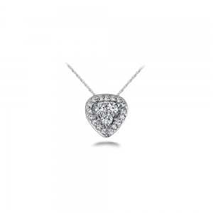 Halo Cluster Diamond Pendant in White Gold