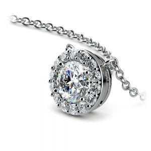 Halo Diamond Pendant Setting in White Gold