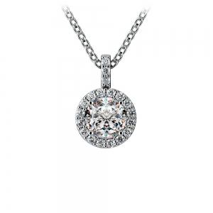 Halo Diamond Solitaire Pendant in White Gold (3/4 ctw)