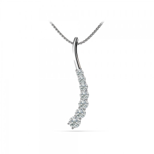 Journey Swirl Diamond Pendant in White Gold