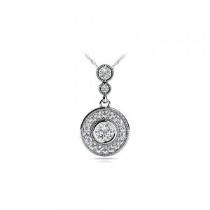 Milgrain Diamond Dangle Pendant in White Gold