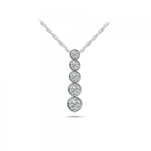 Milgrain Diamond Drop Pendant in White Gold (1/3 ctw)