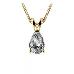 Pear Diamond Solitaire Pendant in Yellow Gold (1 ctw)
