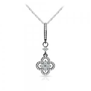 Petal Diamond Drop Pendant in White Gold | Featured