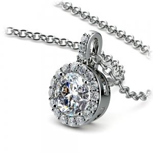 Petite Halo Diamond Pendant Setting in Platinum