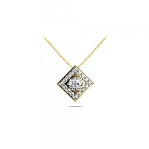 Square Halo Diamond Pendant in Yellow Gold (1/4 ctw)