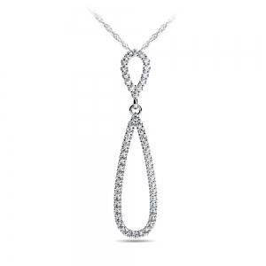 Teardrop Diamond Pendant in White Gold