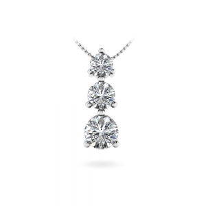 Three Stone Diamond Pendant in White Gold (1/3 ctw)