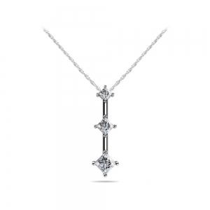 Three Stone Princess Diamond Pendant in White Gold