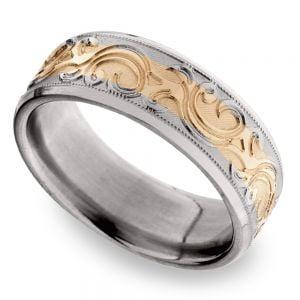 14K Rose Gold Men's Wedding Ring with Filigree in Titanium