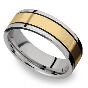 14K Yellow Gold Inlay Men's Wedding Ring in Titanium