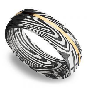 14K Yellow Gold Inlay Sunset Men's Wedding Ring in Damascus Steel