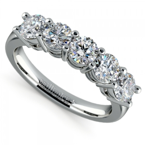 Five Diamond Wedding Ring in White Gold (1 1/2 ctw)