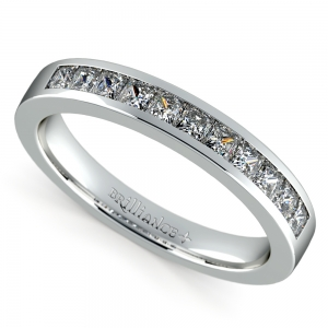 Princess Channel Diamond Wedding Ring in White Gold (1/2 ctw) | Featured