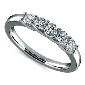 Trellis Five Diamond Wedding Ring in White Gold