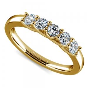 Trellis Five Diamond Wedding Ring in Yellow Gold