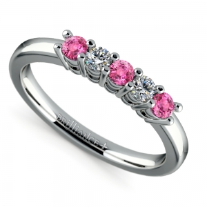 Five Diamond & Pink Sapphire Wedding Ring in White Gold (1/3 ctw)