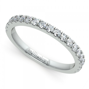 Petite Pave Diamond Wedding Ring in White Gold (1/3 ctw)