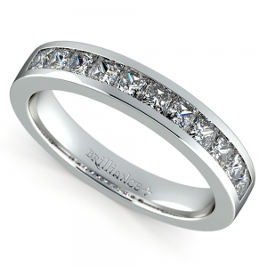 Princess Channel Diamond Wedding Ring in White Gold (3/4 ctw) | Featured