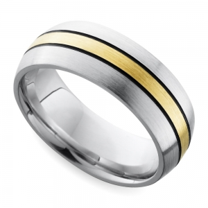 Antiqued Domed Men's Wedding Ring in Cobalt and Yellow Gold