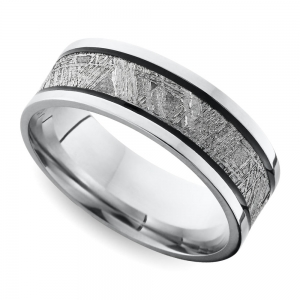 Antiqued Flat Men's Wedding Ring with Meteorite Inlay in Cobalt