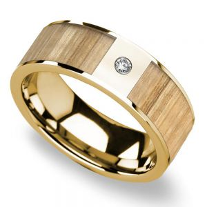 Ash Wood Inlay Men's Wedding Ring in Yellow Gold with Diamond Accent
