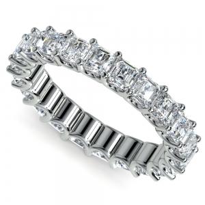 Asscher U-Prong Diamond Eternity Ring in Platinum (4 ctw) | Featured