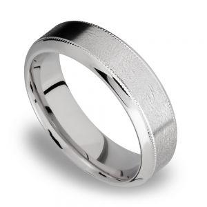 Bevel Edge and Milgrain Accent Men's Wedding Ring in Titanium