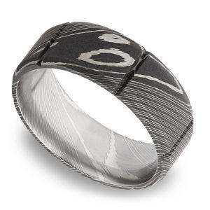 Bevel Segment Men's Wedding Ring in Damascus Steel