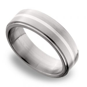 Steeped Edges Sterling Silver Inlay Men's Wedding Ring in Titanium