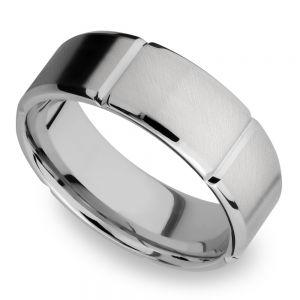Bevel Segment Men's Wedding Ring in Titanium (8mm)