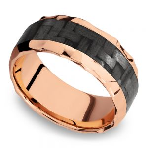 Beveled Carbon Fiber Inlay Men's Wedding Ring in 14K Rose Gold