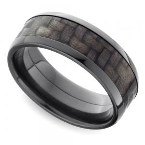 Beveled Carbon Fiber Men's Wedding Ring in Zirconium