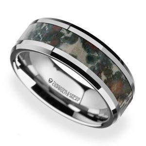 Beveled Coprolite Fossil Inlay Men's Wedding Ring in Tungsten
