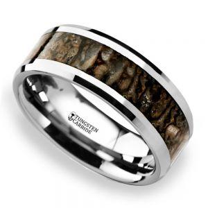 Beveled Dinosaur Bone Inlay Men's Wedding Ring In Tungsten