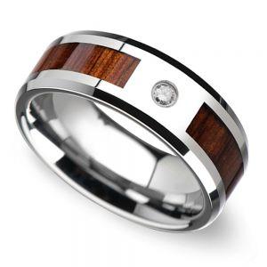 Beveled Diamond Men's Wedding Ring with Koa Wood Inlay in Tungsten