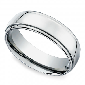 Beveled Men's Wedding Ring in Titanium (7mm)