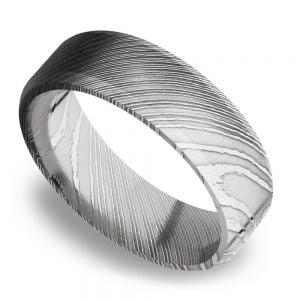 Beveled Men's Wedding Ring in Damascus Steel (7mm)