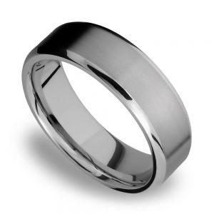 Beveled Men's Wedding Ring in Titanium