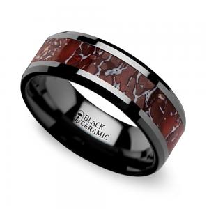 Beveled Red Dinosaur Bone Inlay Men's Wedding Ring in Black Ceramic