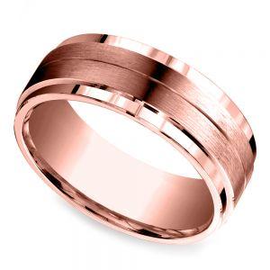 Beveled Satin Men's Wedding Ring in Rose Gold