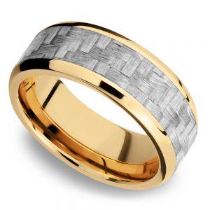 Beveled Silver Carbon Fiber Inlay Men's Wedding Ring in 14K Yellow Gold