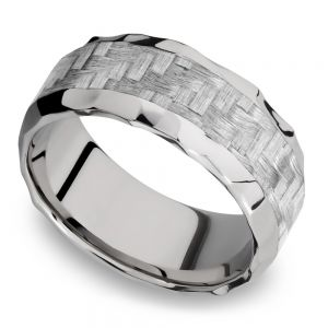 Beveled Silver Carbon Fiber Inlay Men's Wedding Ring in Hammered Titanium