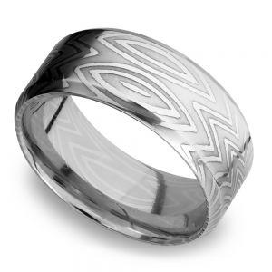 Beveled Zebra Men's Wedding Ring in Damascus Steel