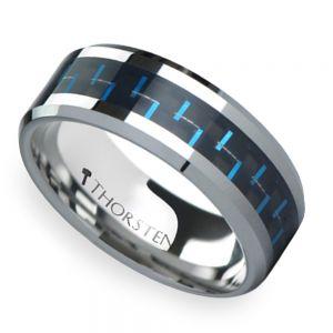 Black & Blue Carbon Fiber Inlay Tungsten Carbide Men's Ring (8mm)