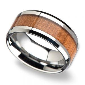 Cherry Wood Inlay Men's Beveled Wedding Ring in Tungsten (10mm)