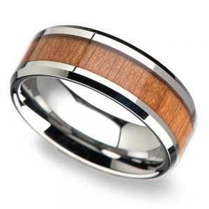 Cherry Wood Inlay Men's Beveled Wedding Ring in Tungsten (8mm)