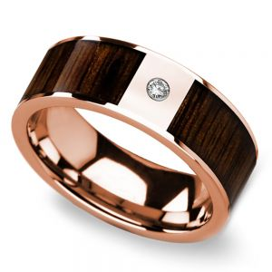 Black Walnut Wood Inlay Men's Wedding Ring with Diamond in Rose Gold