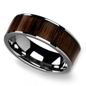 Black Walnut Wood Inlay Men's Wedding Ring in Tungsten (8mm)